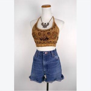1990s Embroidered Indian Halter Top